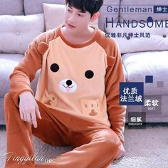 9b6d9c2bd89f Man Pijama Winter Mens Pajama Sets O-Neck Long Sleeve Nightwear For Men  Sleepwear Thick Warm Coral