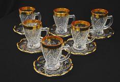 Arabian Cut Crystal Tea Set with Gold Trim - gi579 - AlHannah Islamic Clothing
