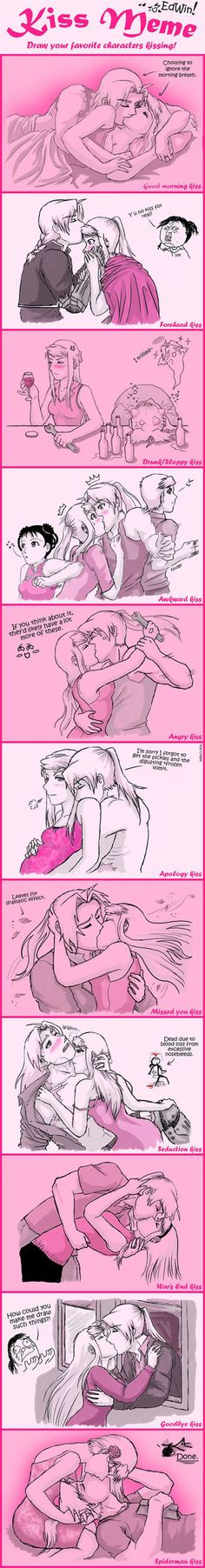 FMA- Kiss Meme by amburger91<<<Really loved the awkward kiss lol! Al and May would! Hahaha!