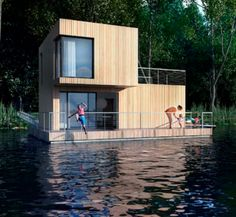 Forget lakeside—these adventurous houses sit right on the water for maximum views and serene living. Floating Architecture, Houseboat Living, Floating House, Boat Design, Water Crafts, Tiny House, Cottage, House Styles, Building