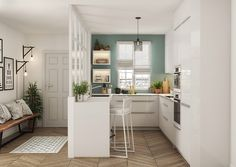 7 petites cuisines ouvertes 7 small open kitchens for 2019 Real Kitchen, Home Decor Kitchen, Kitchen Interior, Kitchen Ideas, Boho Kitchen, Apartment Kitchen, Small Open Kitchens, Narrow Kitchen, Small Kitchen Plans