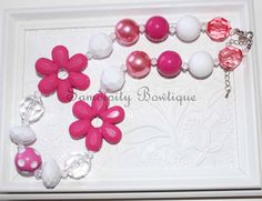 Hot Pink Flower Chunky Bubblegum Necklace by SamdipityBowtique on Etsy, $21.95