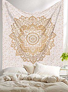 "Amazon.com: Exclusive ""Golden Ombre Tapestry by Labhanhi"" Ombre Bedding , Mandala Tapestry, Queen, Multi Color Indian Mandala Wall Art Hippie Wall Hanging Bohemian Bedspread: Home & Kitchen"