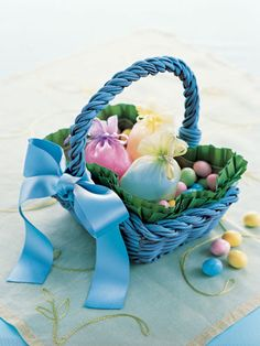 Pass on the plastic grass. Dress up a basket with pleated ribbon or sewn fabric scraps.