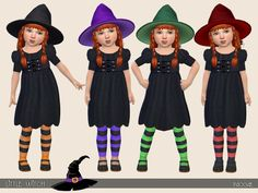 Cute witch dress for our little girls, with striped leggings, in four colors. Found in TSR Category 'Sims 4 Toddler Female' Witch Dress, Witch Outfit, Sims 4 Cas Mods, Vampire Kids, Sims 4 Cc Kids Clothing, Sims 4 Cc Shoes, Sims 4 Toddler, The Sims 4 Download, Cute Halloween Costumes
