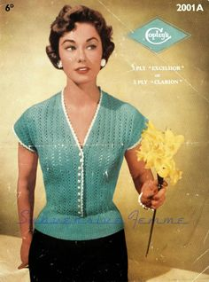 Curvy Month Pattern: Spring Song blouse, circa (Copley's – Subversive Femme Vintage Crochet Patterns, Loom Knitting Patterns, Vintage Knitting, Knitting Tutorials, Stitch Patterns, Sewing Patterns, Vintage Sweaters, Vintage Tops, Knit Sweaters