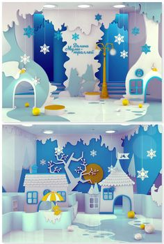 Interior design project for a family entertainment center by Maria Yasko. Based on the Moomin books by Tove Jansson (Finnish novelist) Display Design, Booth Design, Vitrine Design, Diy And Crafts, Kids Crafts, Moomin Valley, Stage Design, Kid Spaces, Retail Design