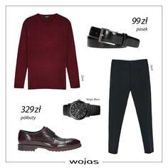 Burgund to zdecydowanie kolor jesieni! Męski sweter świetnie komponuje się z półbutami Wojas w tym samym kolorze i klasycznymi, czarnymi spodniami. Skórzany pasek oraz zegarek to dopełnienie zestawu.