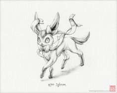 Sylveon 8 x 10 print pokemon drawing art by DrawingsofHeroes