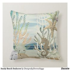 Sandy Beach Seahorse Throw Pillow Throw Pillows, Seahorse Pillows, Sticker Shop, Nautical, Pillows, Designer Throws, Beach Style Decorating, Custom Pillows, Beach Design