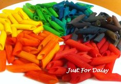 from justfordaisy: dyeing pasta into rainbows for necklaces and crafts; directions at A Little Delightful.