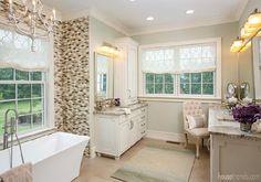 Neutral colors lend spa feeling to a master bathroom design