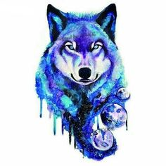 """culturenlifestyle: """"The Animal Kingdom In Focus: Brilliant Paintings by Kathrin Vienna Austrian artist Kathrin Vienna creates superb watercolor illustrations of animals with elements of fantasy. The contemporary painting style paired with bright. Watercolor Wolf, Watercolor Animals, Fantasy Wolf, Fantasy Art, Cute Animal Drawings, Cute Drawings, Wolf Painting, Painting Art, Paintings"""