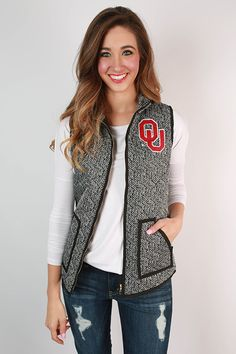 University Of Oklahoma Herringbone Vest. Would be so cute to wear to #OU125 this Saturday!