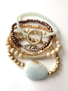 Vintage Pastel Mint Stone Cream Neutral Antique Gold Rhinestone Arm Candy Bracelet Set of 5 Agate Pave Connector DOLLAR SHIPPING in US