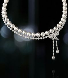Pearl and Diamond Bow Necklace