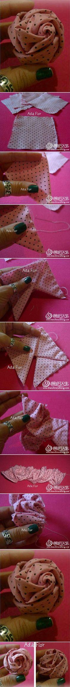 DIY Modular Fabric Rose DIY Projects....reépinglé par Maurie Daboux .•*`*•. ❥