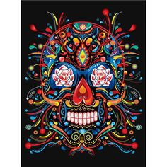 Full Square/Round Drill DIY Diamond Painting Skull Embroidery Cross Stitch Mosaic Rhinestone H Diamond Drawing, 5d Diamond Painting, Catrina Tattoo, Silkscreen, Diamond Picture, Red And White Roses, Day Of The Dead Art, Aztec Art, Skull Wallpaper