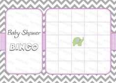 Elephant Baby Shower Games Baby Shower Bingo Game by diymyparty