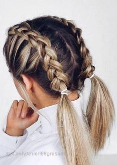 28 Braided Pigtail Braids for Short Hair You Will Love for Braided Pigtail Braids for Short Hair Hairstyles with beautiful weaving look elegant and romantic, they reveal all the beauty of a woman's face and em…, Braids Hairstyles Heels Braided Hairstyles For Teens, Super Easy Hairstyles, Cool Braid Hairstyles, Hairstyle Ideas, Pigtail Hairstyles, Cute Hairstyles For Short Hair, Different Hairstyles, Ideas For Short Hair, Easy Hairstyles For Medium Hair For School