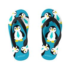 Shop Cute Baby Boy Penguins with Blue Neckties Kid's Flip Flops created by expressionsoccasions. Kids Flip Flops, Beach Flip Flops, Flip Flop Shoes, Cute Baby Boy, Cute Babies, Personalized Flip Flops, Personalized Gifts, Baby Alligator, Boys Closet