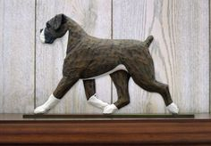 #Boxer uncropped dog #figurine sign plaque #display wall decoration brindle,  View more on the LINK: http://www.zeppy.io/product/gb/2/400721987237/