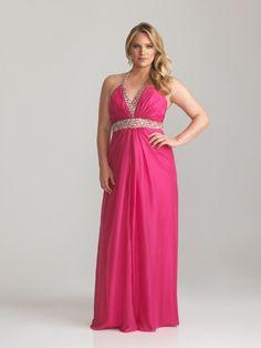 Nice Evening Dresses plus size Sheath / Column Halter V-neck Backless Floor-length / Long Plus Size Prom Evenin...