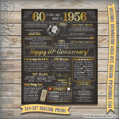 60th Anniversary 1956 Printable Chalkboard Poster -- A fun anniversary poster filled with facts, events, and tidbits from 1956. Makes an
