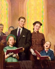 Singing to the Lord is worship from the heart. I believe I read that this is a family worship style painting by Harry Anderson, who was a faithful Day Adventist Christian all of his life. Vintage Pictures, Vintage Images, Vintage Posters, Vintage Art, Norman Rockwell, Kirchen, The Good Old Days, Belle Photo, Worship
