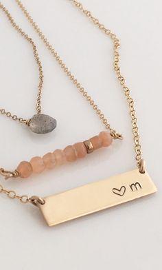 Short Nameplate Necklace/ Gold Bar Necklace
