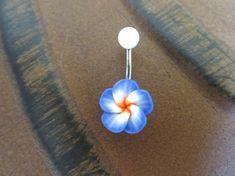 Indigo Plumeria Blue Hawaiian Flower Belly Button by Azeetadesigns