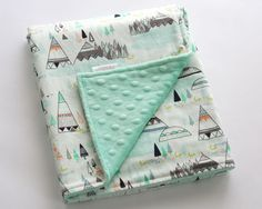 Minky Baby Blanket Indian Summer Blanket Mint Minky by DelvaBTree