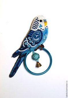 """Купить Брошь """"Петруша"""" - голубой, брошь, брошь ручной работы, брошь из бисера, Вышивка бисером"""