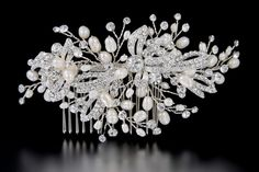 Pearl Bridal Hair Comb with Rhinestone Leaves and Sprays from Cassandra Lynne