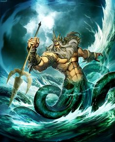 Poseidon God of the Sea by GENZOMAN monster beast creature animal | Create your own roleplaying game material w/ RPG Bard: www.rpgbard.com | Writing inspiration for Dungeons and Dragons DND D&D Pathfinder PFRPG Warhammer 40k Star Wars Shadowrun Call of Cthulhu Lord of the Rings LoTR + d20 fantasy science fiction scifi horror design | Not Trusty Sword art: click artwork for source