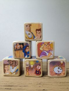 Beauty And The Beast // Childrens Book Blocks // Natural Wood Toy