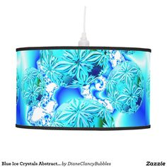 Blue Ice Crystals Abstract Aqua Azure Cyan Fractal Ceiling Lamps