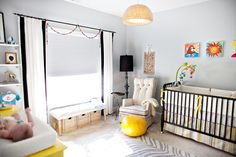cute and neutral nursery...same colors as ours -- gray and yellow xoxo