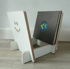 White plywood storage rack for vinyl LPs and records