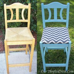 Our Thrifted Nest: Revamped Wooden Stools Furniture Update, Furniture Makeover, Diy Furniture, Repurposed Furniture, Painted Furniture, Small Patio Ideas On A Budget, Turquoise Painting, Diy Home Decor, Decor Crafts