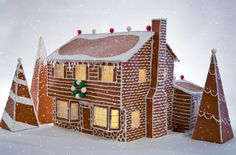 Faux Gingerbread Homes for the Holidays by DaydreamHunter on Etsy #gingerbread #gingerbreadhouse #house #home #holiday #decor #decoration #winter #snow #diy #craft #etsy #daydreamhuntercreations