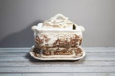 Brown Transferware Tureen by momentofnostalgia on Etsy. Home & Living  Kitchen & Dining  Dining & Serving  Serving Odds & Ends  Gravy Boats  white  epsteam  casserole antique  french farmhouse  serving  porcelain  sauce  gravy  castle flowers  momentofnostalgia  underplate  vintage