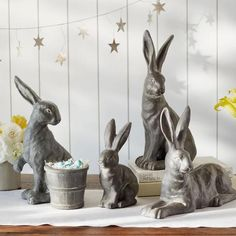 ESSEX BUNNY ~`~ POTTERY BARN Each of these long-eared bunnies has a curious expression and playful personality. The distressed finish gives them vintage charm. Easter Table Settings, Easter Table Decorations, Centerpiece Decorations, Easter Decor, Spring Decorations, Easter Gift, Easter Ideas, Happy Easter, Mason Jar Flower Arrangements