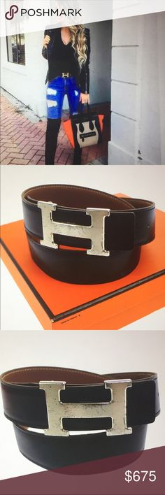 """🆕 Hermes H Celebrities Reversible Belt # 70 Authentic Hermes Belt , H silver tone hardware, black and camel calf leather, serial# Square :F, production in 1998, Total length: 33.8"""", width: 1.2"""", Buckle: 2.4""""x h: 1.5"""", preowned, very good condition, comes with box Hermes Accessories Belts"""