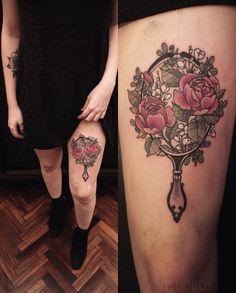 """Thighpiece done by Santi Bord (Vonthink Tattoo, Montevideo) Inspiration: – """"Doc… - Spiegel Vintage Mirror Tattoo, Vintage Tattoo Sleeve, Circle Tattoos, Large Tattoos, Flower Tattoos, Moth Tattoo Design, Tattoo Designs, Piercing Tattoo, Time Tattoos"""