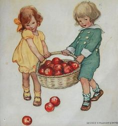 Jessie Wilcox Smith: 'Carrying apples',  front cover of Good Housekeeping, October, 1920.