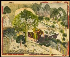 """wetreesinart: """" India, Maharao Madho Singh hunting wild boar, c. Gouache on paper, x cm """" Occult Art, Wild Boar, Impressionism Art, Hindu Art, Native American Art, North Africa, Indian Art, Art And Architecture, Online Art"""