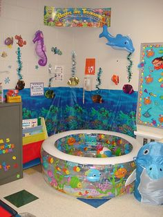 reading corner---inflatable pool, fill with blankets and pillows..