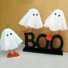 For Huey, Dewey, and Louie, Halloween is three times the fun. With matching ghost costumes, these famous triplet ducklings are truly identical. Even their uncle Donald and great-uncle Scrooge McDuck can't tell them apart. Made from stiffened cotton, these web footed apparitions make a real stand-up decoration.