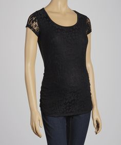 Take a look at this Black Lace Maternity Scoop Neck Top - Women on zulily today!